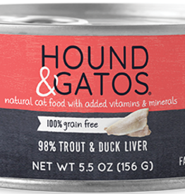 Hound & Gatos Cat 98% Trout & Duck Pate - Grain-Free 5.5oz