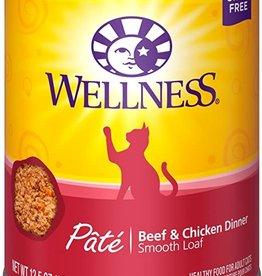 Wellness Pet Food Cat Complete Beef & Chicken Pate - Grain-Free 12oz