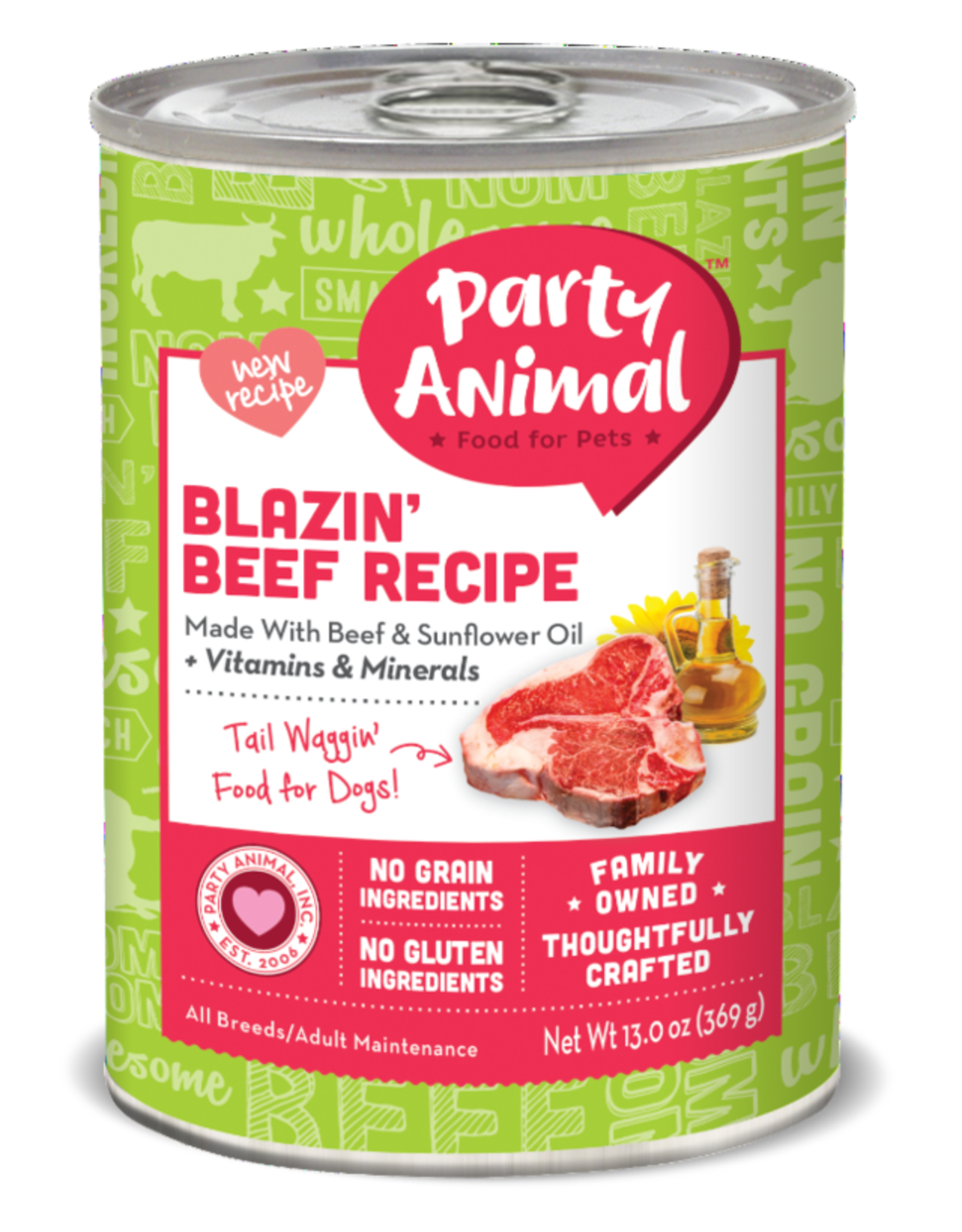 Party Animal Dog Blazin' Beef Recipe Pate - Grain-Free 13oz