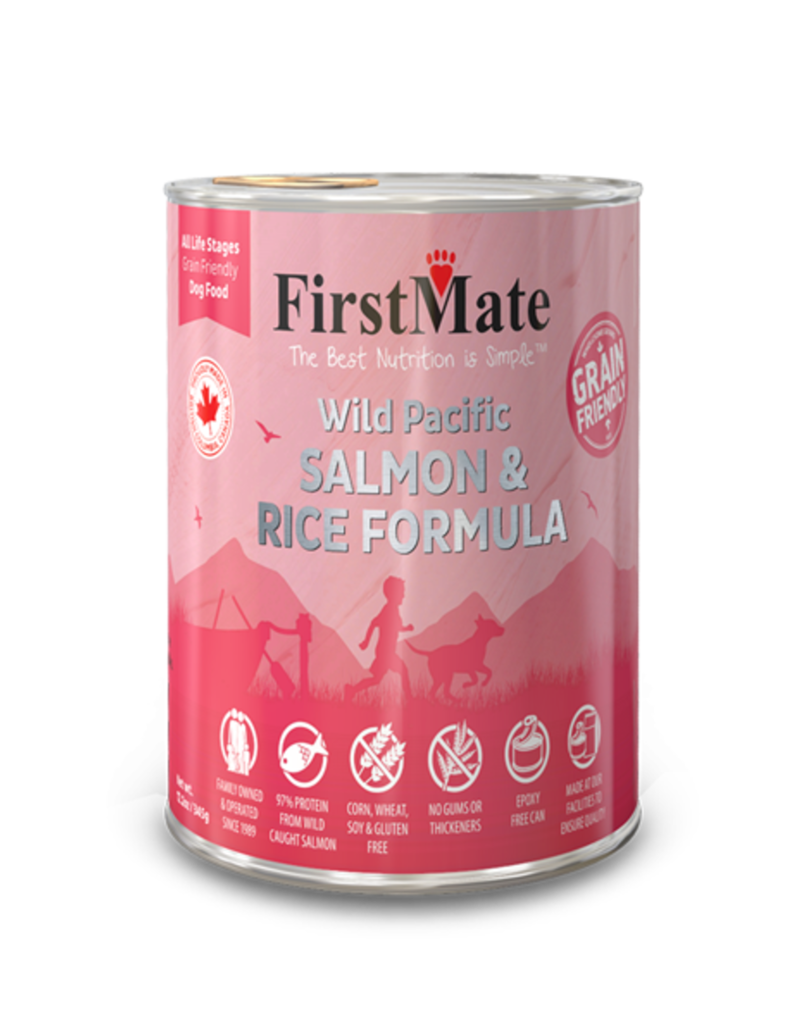 FirstMate Pet Food Dog Salmon & Rice Pate - Whole Grain 12oz