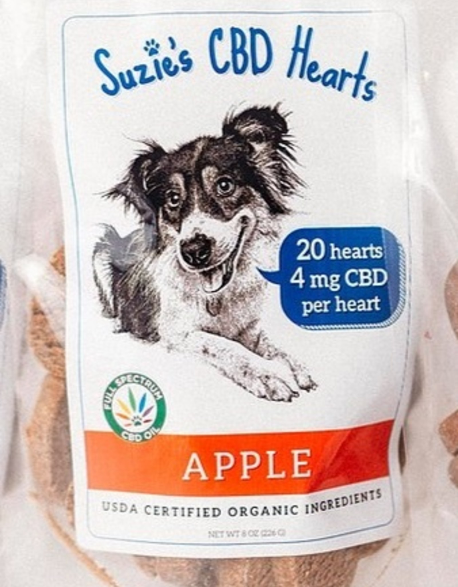 Suzie's Pet Treats CBD Hearts Apple - 20ct