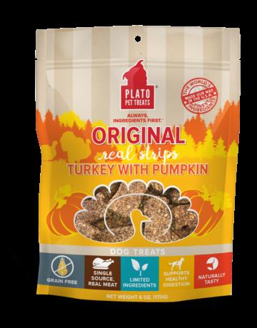 Plato Pet Treats Canine Turkey & Pumpkin Strips
