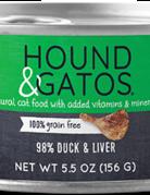 Hound & Gatos Feline Grain-Free 98% Duck & Liver