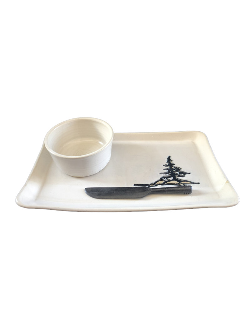 Pate Plate with Bowl and Knife, Spruce