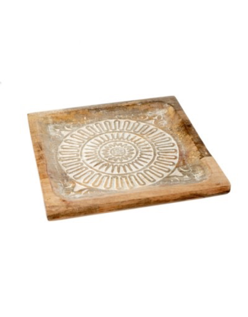 Mandala wooden tray large