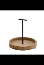 Round wood display tray
