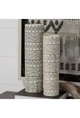 Uhura I Small Cream/Black Patterned Cylindrical Vase