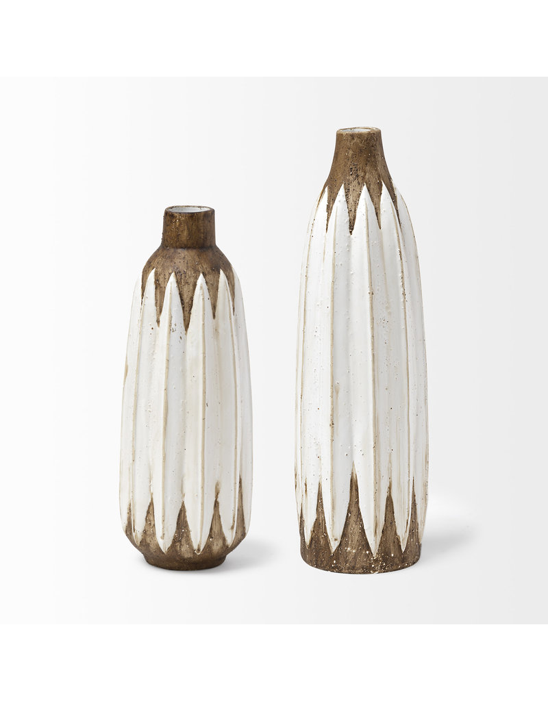 Rustic Brown and White Vase Large