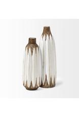 Sisko II Tall Rustic Brown/White Ceramic Vase