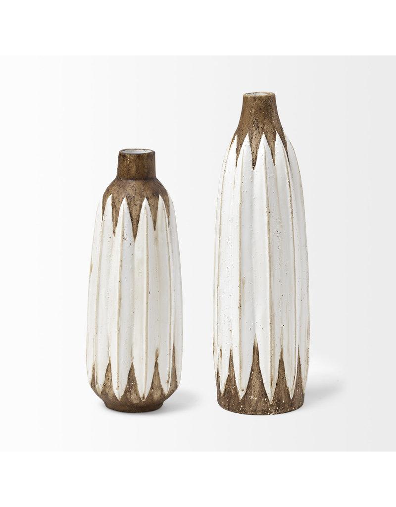 Sisko I Short Rustic Brown/White Ceramic Vase