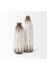 Rustic Brown and White Ceramic Vase Small