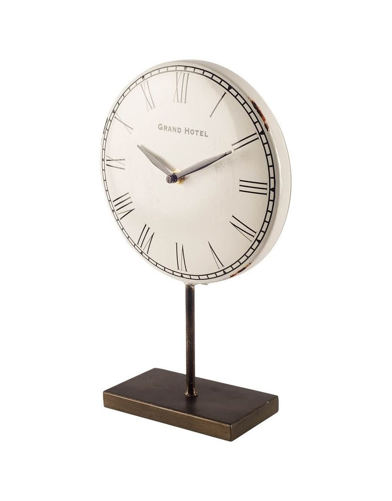 Harriet White/Bronze Metal Table Clock