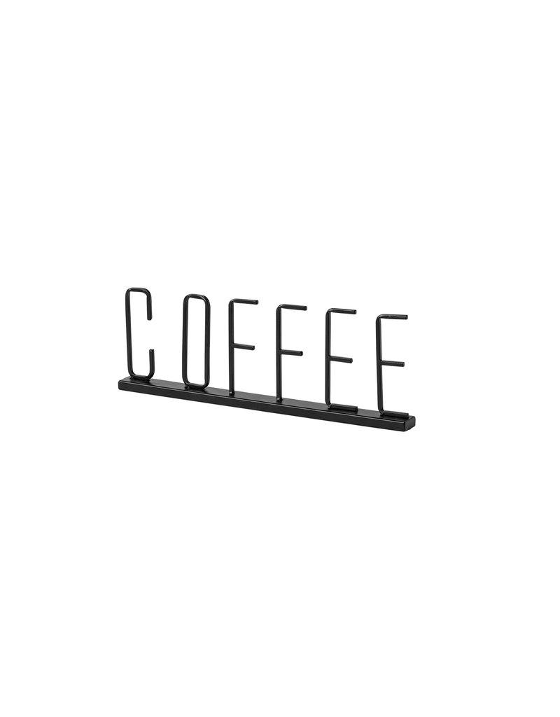 Coffee Wide Black Metal Sign