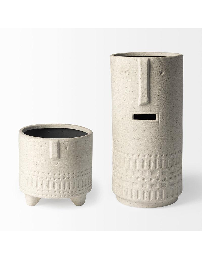 Jacob II Tall White Ceramic Smiling Face Vase