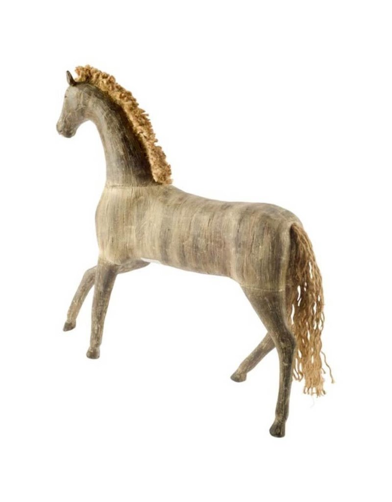 Leblond wooden horse with braided burlap mane