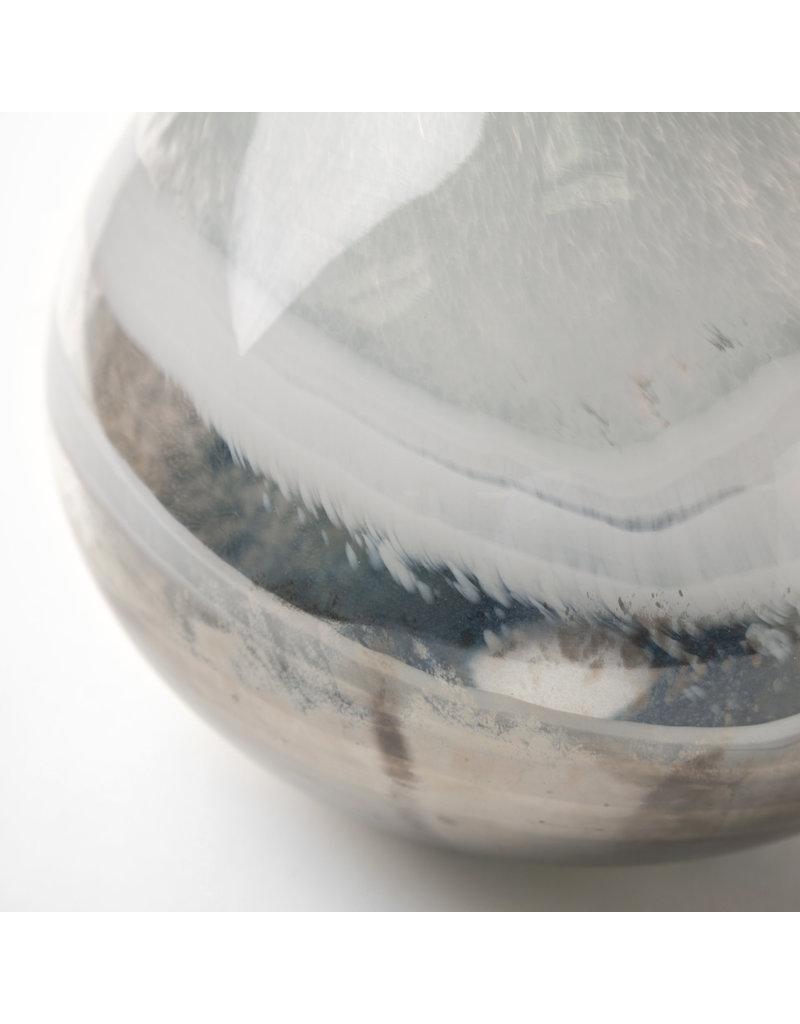 Short Two-Toned Sky Blue/Dark Brown Blown Glass Vase