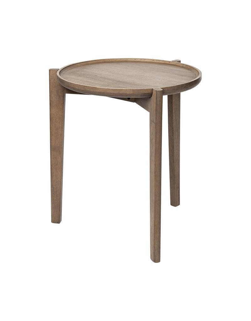 Cleaver I 22 x 24 Round Top Brown Solid Wood Accent Table
