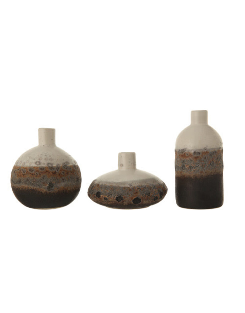 Stoneware vase brown, grey and off white - individual