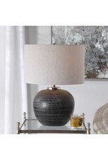 Uttermost Mikkel One Light Table Lamp in Brushed Nickel with Round Drum Hardback glass  (16W x 16L x 21.75H)