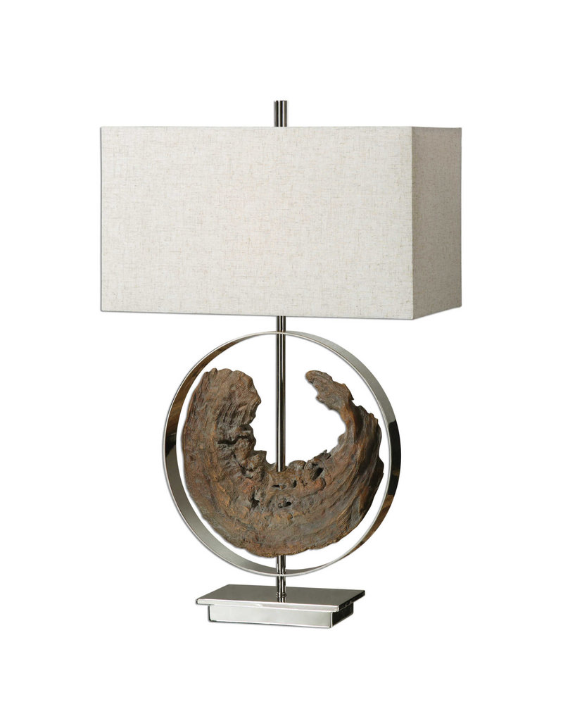 Uttermost Ambler One Light Table Lamp in Faux Driftwood, Polished Nickel with Rectangle Hardback glass  (18W x 9L x 29.25H)