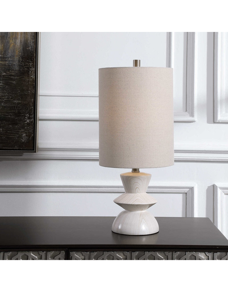 Uttermost White and Beige  Wood Grained Lamp