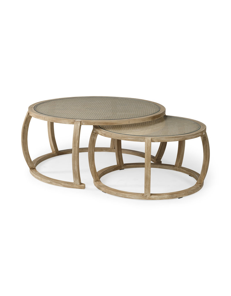 Round Woven Cane w/Glass Top Solid Wood Base Coffee Tables