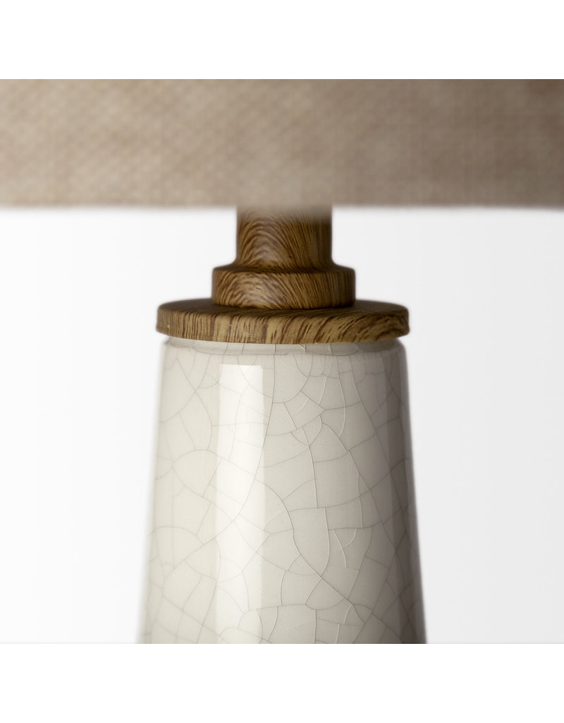 White Crackled Table Lamp