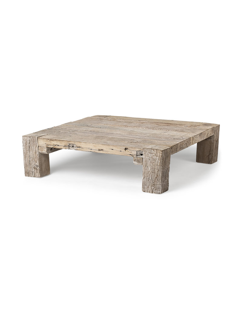 """Square Brown Reclaimed Solid Wood Coffee Table 48"""" x 48"""""""