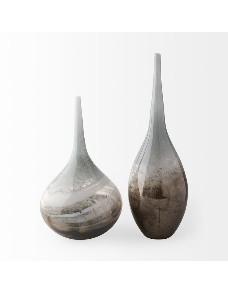 Tall Two-Toned Sky Blue/Dark Brown Blown Glass Vase