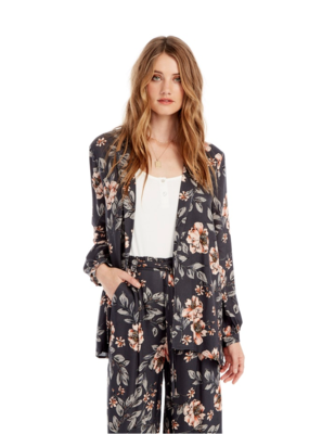 Saltwater Luxe Light Weight Floral Jacket Navy