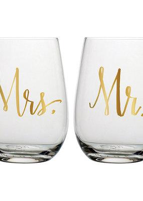 Slant Collections Mr & Mrs Stemless Set