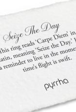 Pyrrha Seize the Day Silver Ring Sz 8