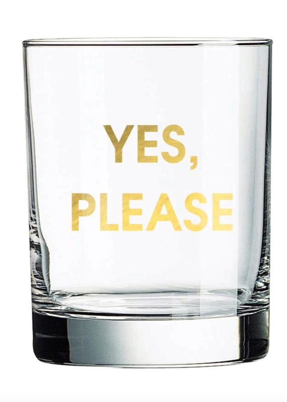 Chez Gagne Yes, Please Rock Glass