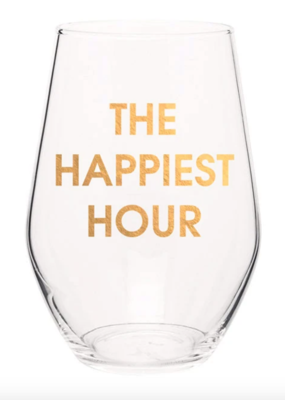 Chez Gagne Happiest Hour Wine Glass