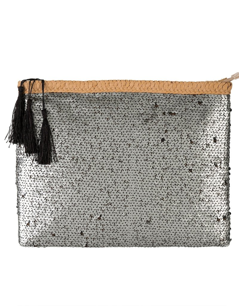 Indaba Trading Co. Sequin Party Clutch, Silver
