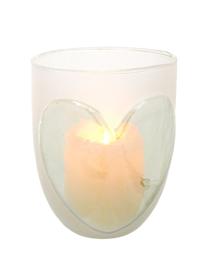 Indaba Trading Co. Frosted Heart Votive, Lg