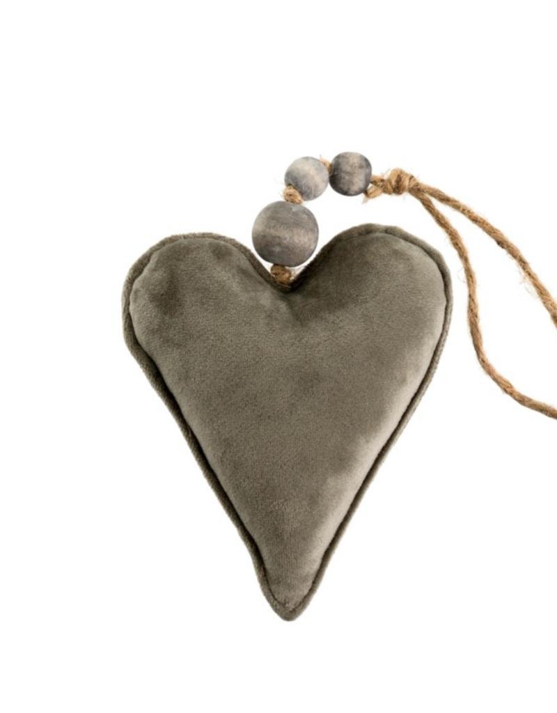 Indaba Trading Co. Velvet heart Ornament Grey