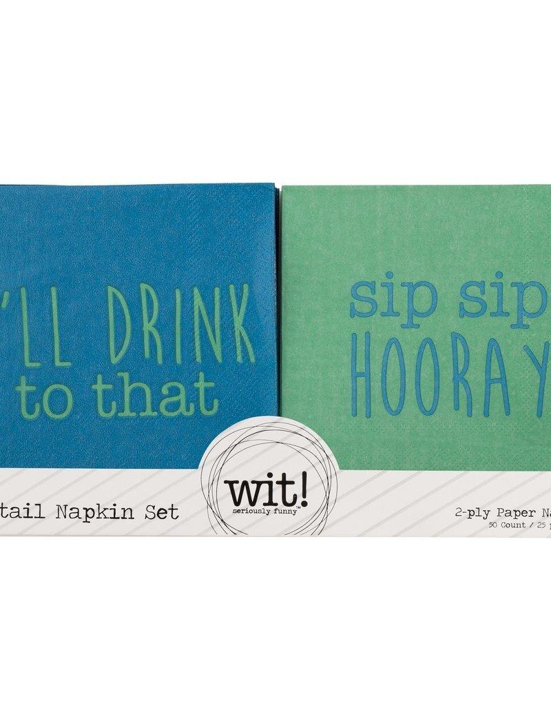 WIT I'll Drink/Hooray Cocktails Napkins