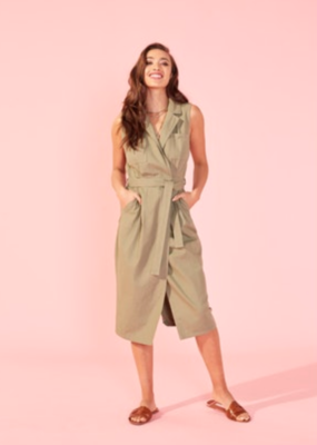 Mink Pink Alena Midi Wrap Dress - Khaki