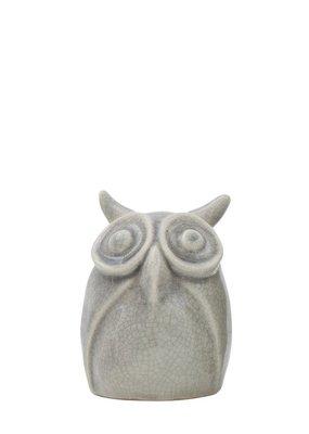 CREATIVE CO-OP Owl Vase Grey, Medium