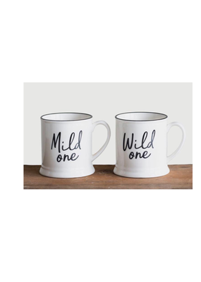 CREATIVE CO-OP Mild & Wild Stoneware Mug Set