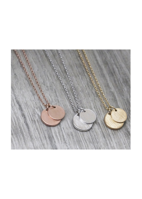 FAB Accessories Double Circle Drop Necklace