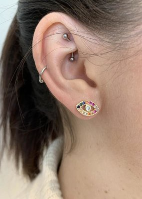 Klasified Rainbow Stone Eye Earrings