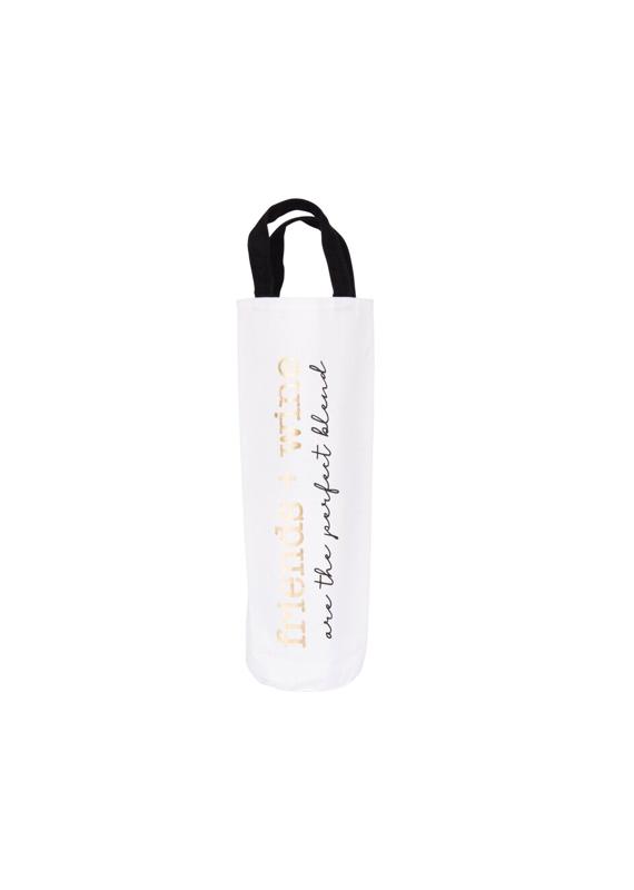 CREATIVE CO-OP Fabric Wine Bag  Friends + Wine