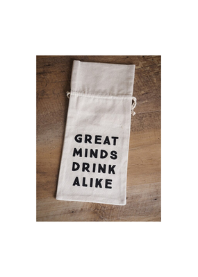 CREATIVE CO-OP Cotton Wine Bag Great Minds Drink Alike