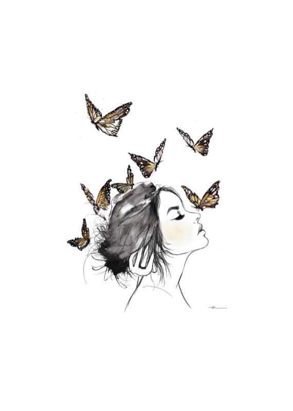 "Kristen Baker Art ""Monarch's on Canvas"" Card"