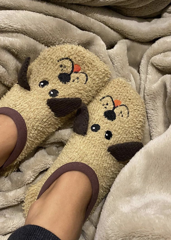 Living Royal Fuzzy Dog Slippers
