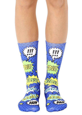 Living Royal Blue Comic Crew Socks
