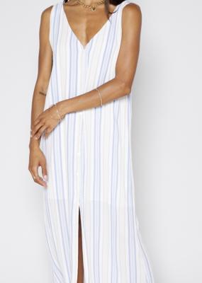 Sadie & Sage High Tide Stripe Maxi Dress - Ivory Denim