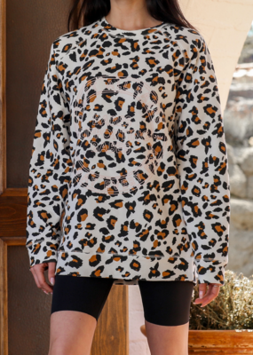 "Brunette The Label ""Uplift All Babes"" Big Sister White Leopard"